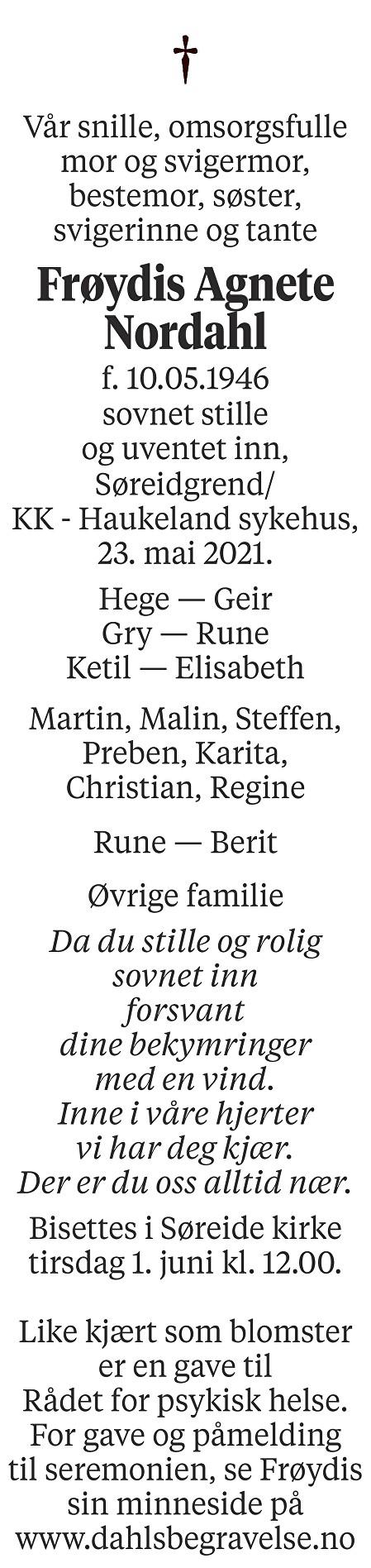 Frøydis Agnete Nordahl Dødsannonse