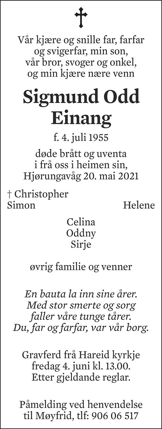 Sigmund Odd Einang Dødsannonse