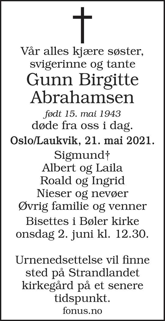 Gunn Birgitte Abrahamsen Dødsannonse