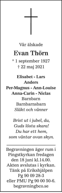 Evan Thörn Death notice
