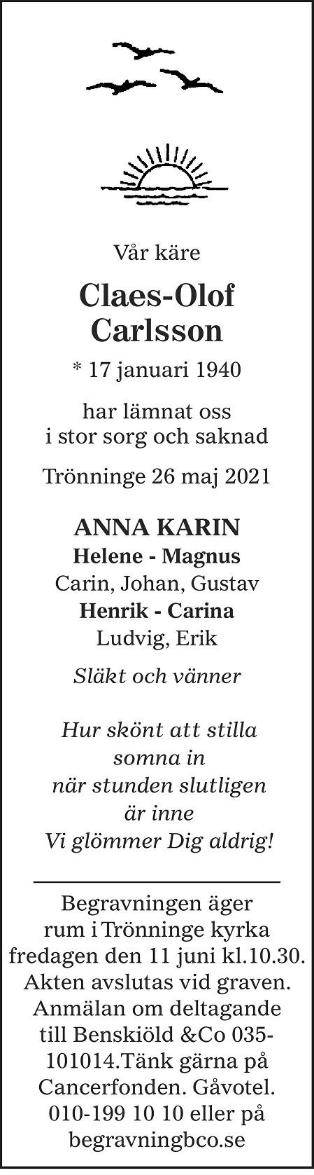 Claes-Olof Carlsson Death notice