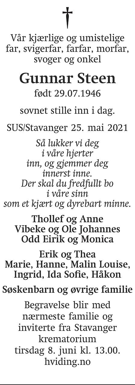 Gunnar Steen Dødsannonse