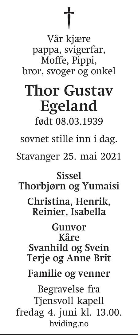 Thor Gustav Egeland Dødsannonse