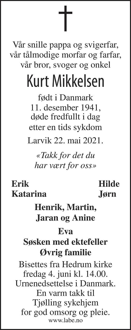 Kurt Mikkelsen Dødsannonse