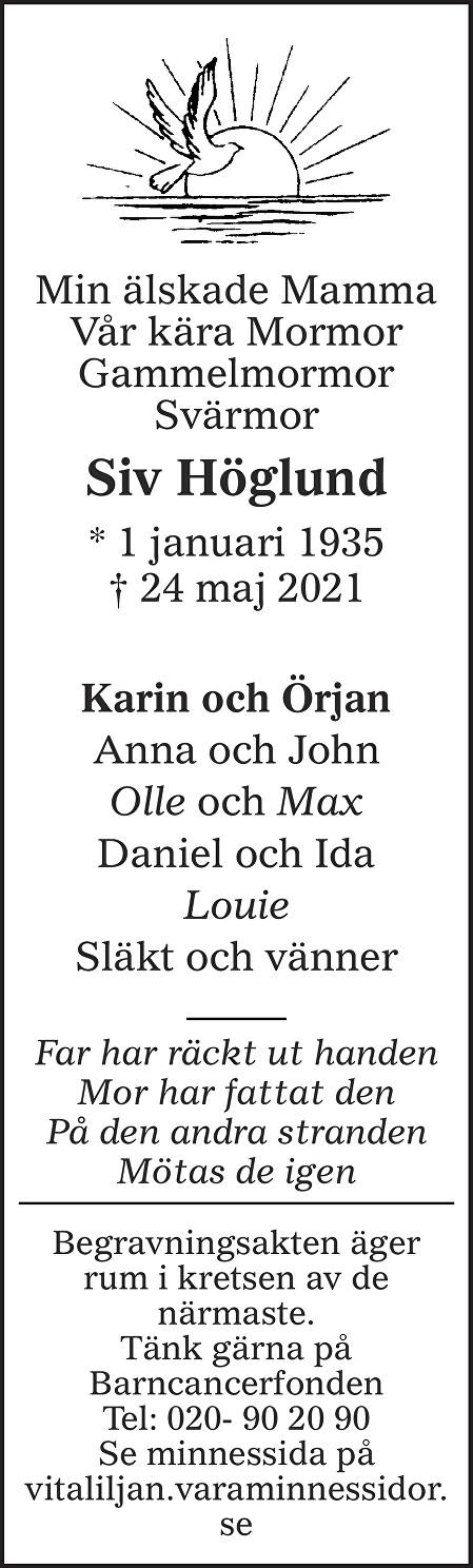 Siv Höglund Death notice