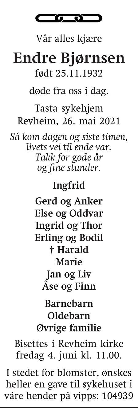 Endre Bjørnsen Dødsannonse