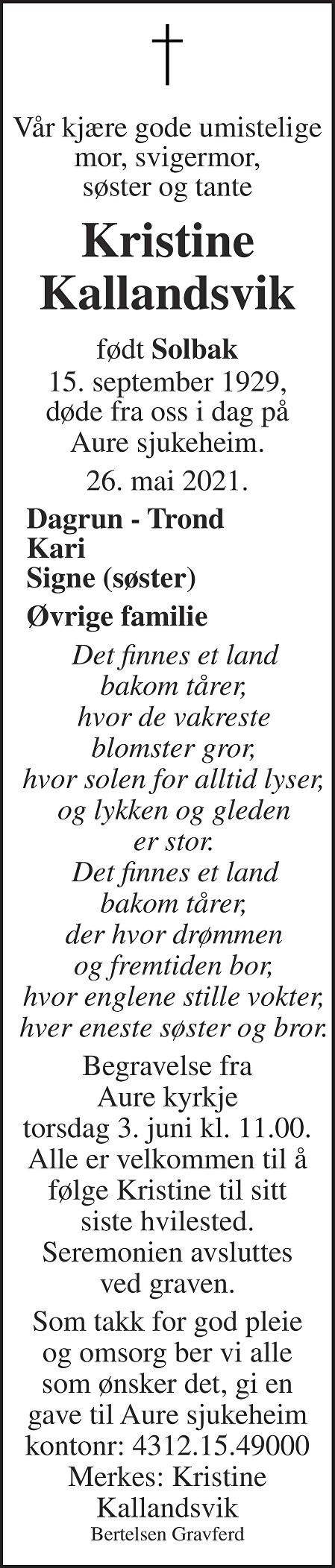 Kristine Kallandsvik Dødsannonse