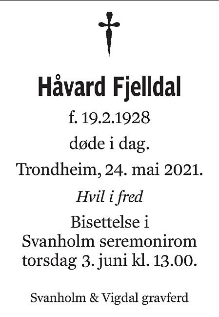 Håvard Fjelldal Dødsannonse