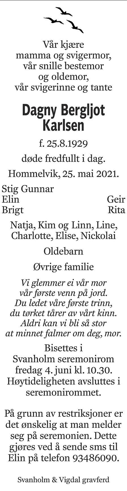 Dagny Bergljot Karlsen Dødsannonse