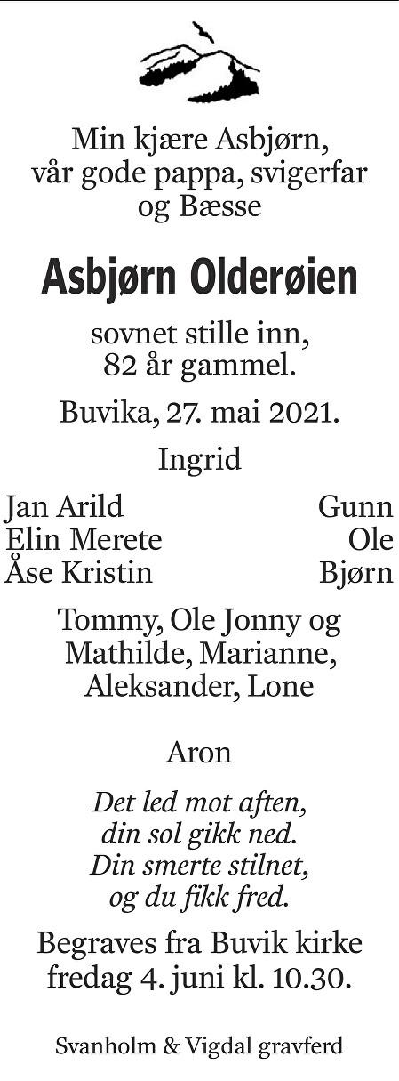 Asbjørn Olderøien Dødsannonse