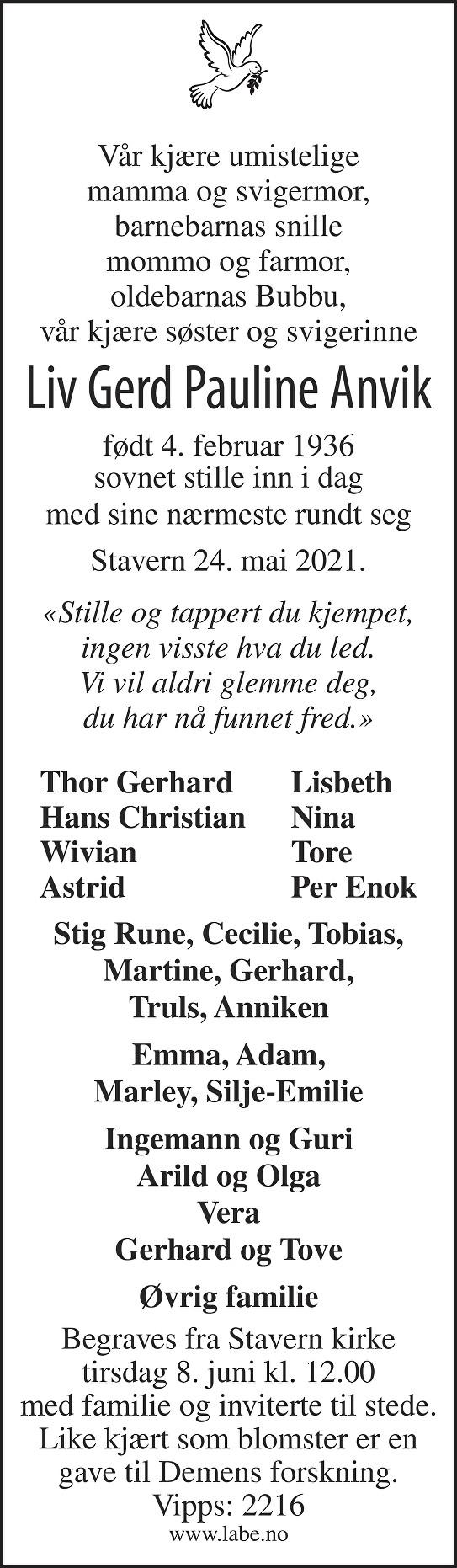 Liv Gerd Pauline Anvik Dødsannonse