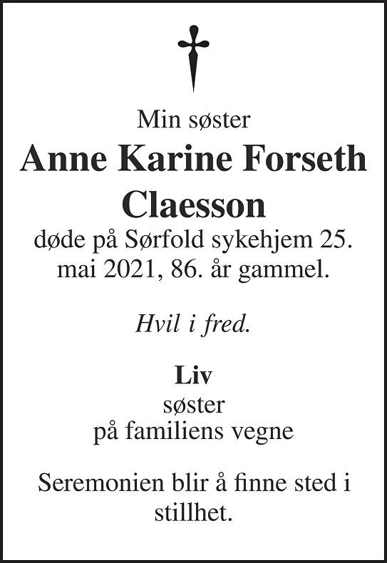 Anne Karine Forseth Claesson Dødsannonse