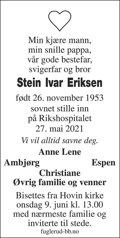 Stein Ivar Eriksen Dødsannonse