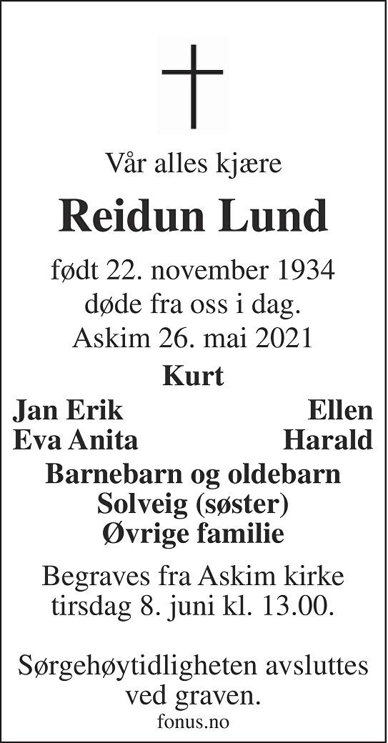 Reidun Lund Dødsannonse