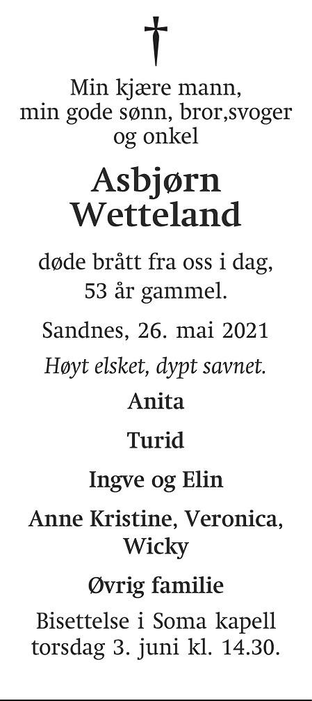 Asbjørn  Wetteland Dødsannonse