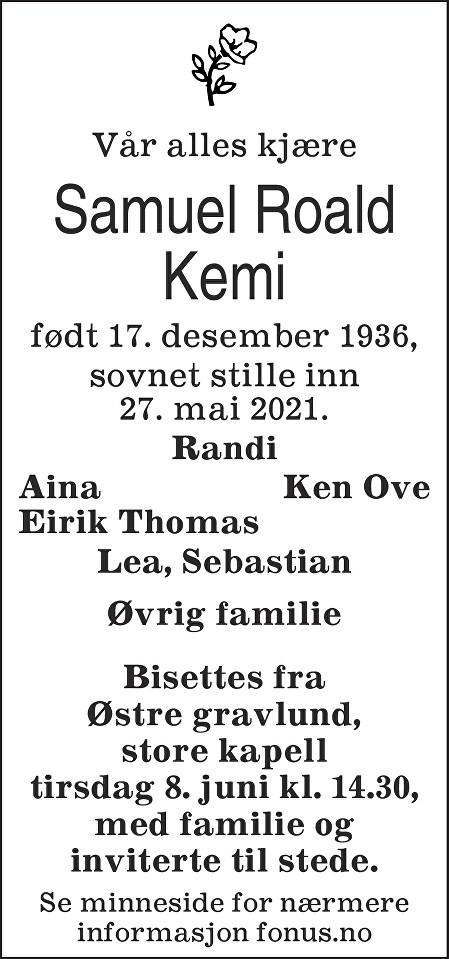 Samuel Roald Kemi Dødsannonse