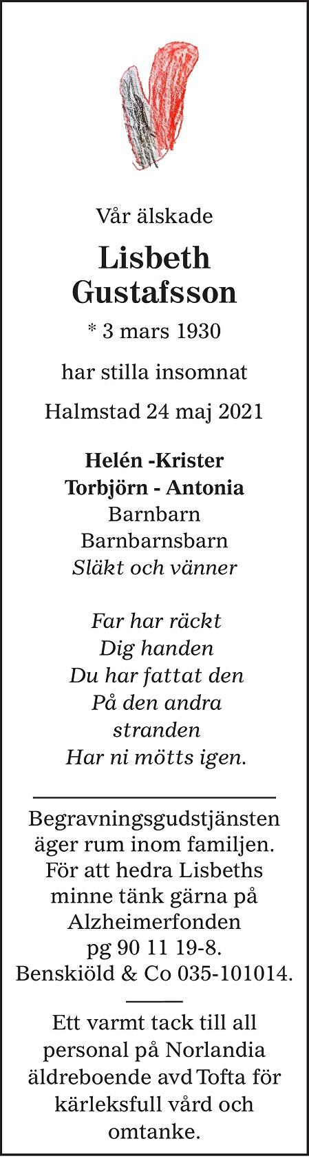 Lisbeth Gustafsson Death notice