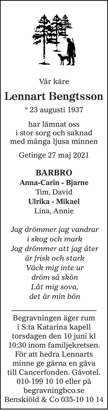 Lennart Bengtsson Death notice