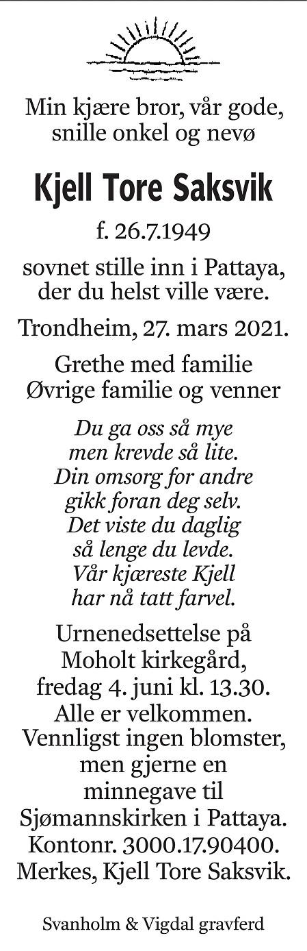 Kjell Tore Saksvik Dødsannonse