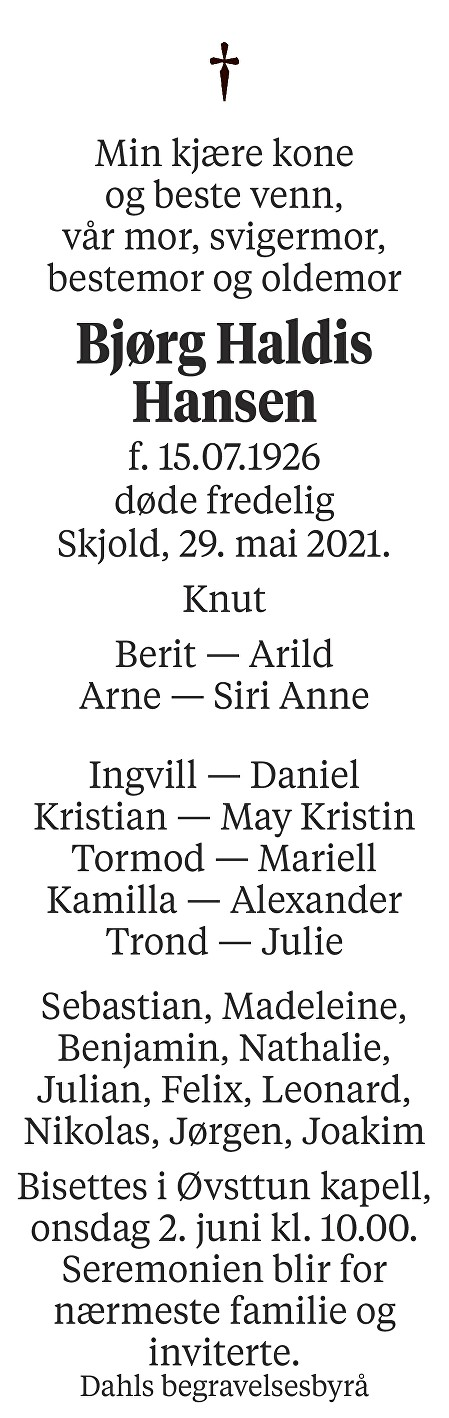 Bjørg Haldis Hansen Dødsannonse