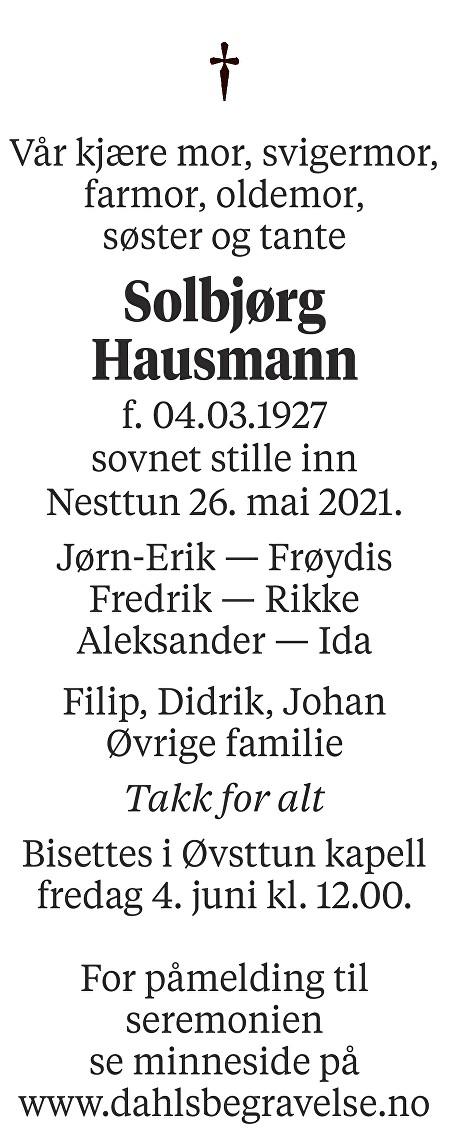 Solbjørg Hausmann Dødsannonse