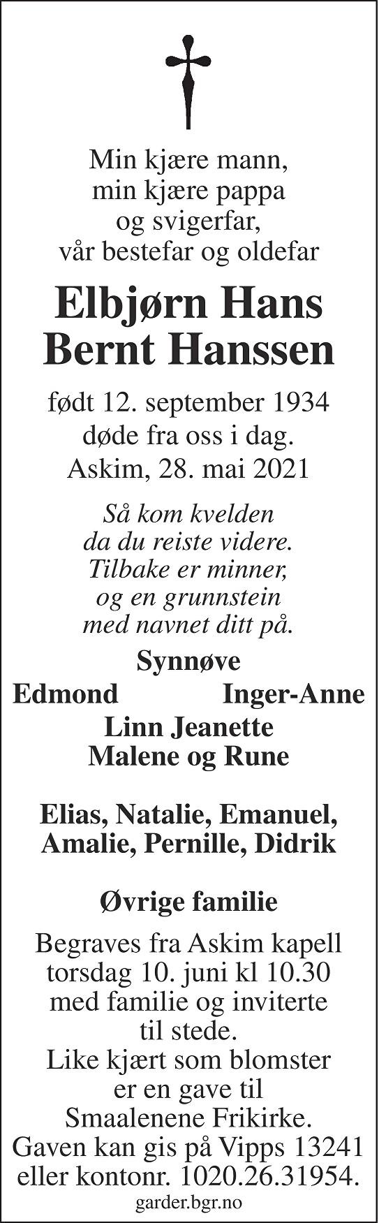 Elbjørn Hans Bernt Hanssen Dødsannonse