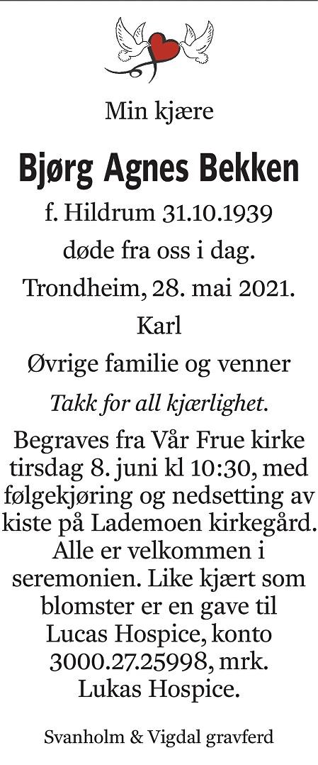 Bjørg Agnes Bekken Dødsannonse
