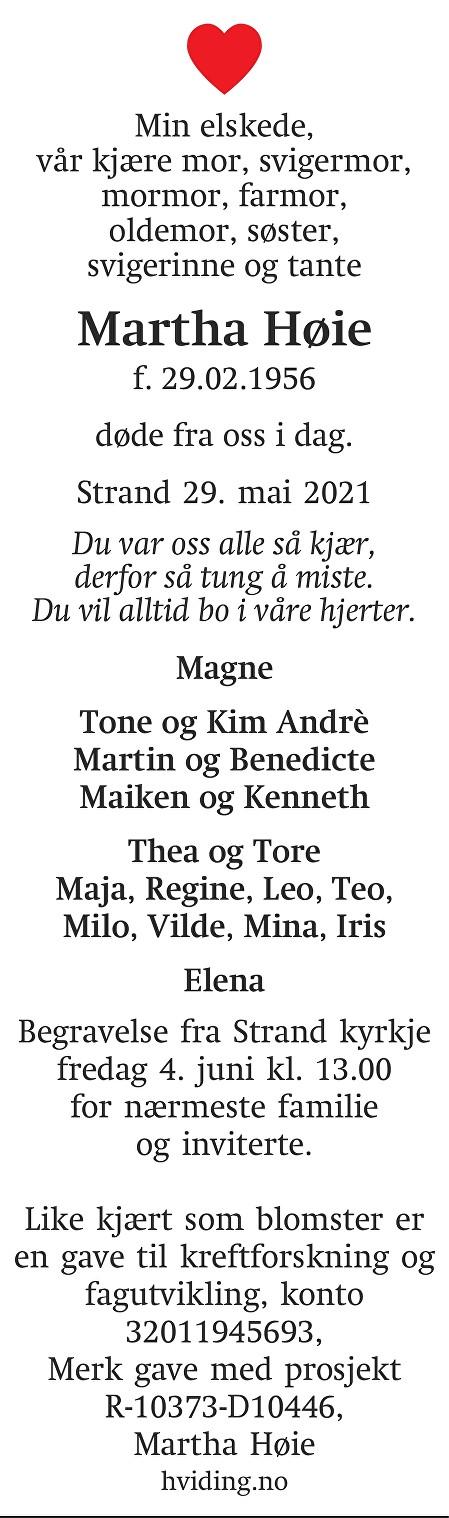 Martha Høie Dødsannonse