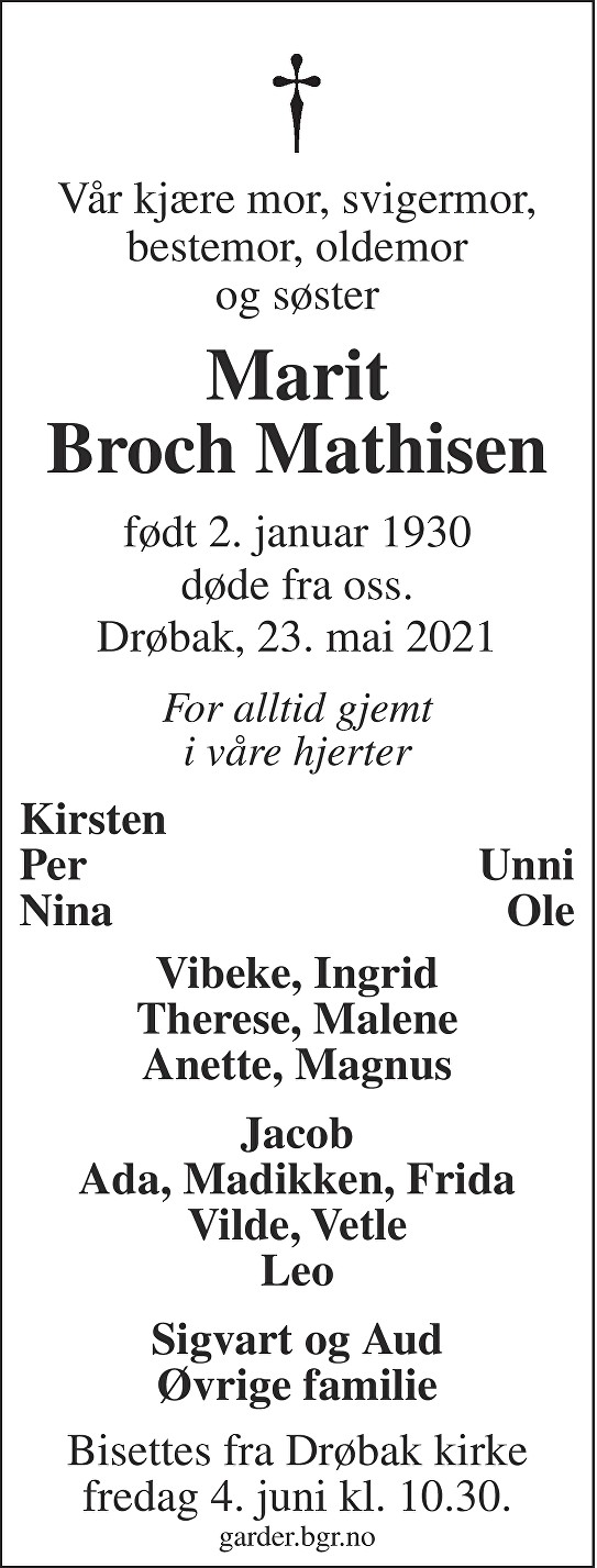 Marit Constance Broch Mathisen Dødsannonse