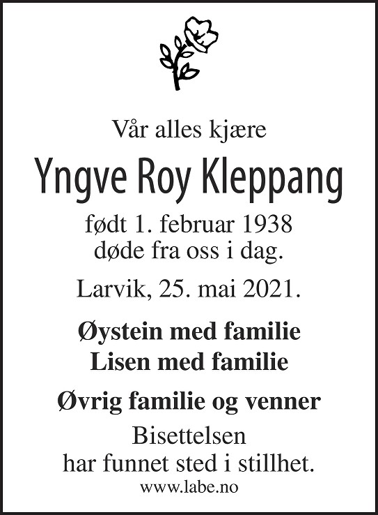 Yngve Roy Kleppang Dødsannonse