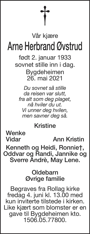 Arne Herbrand Øvstrud Dødsannonse