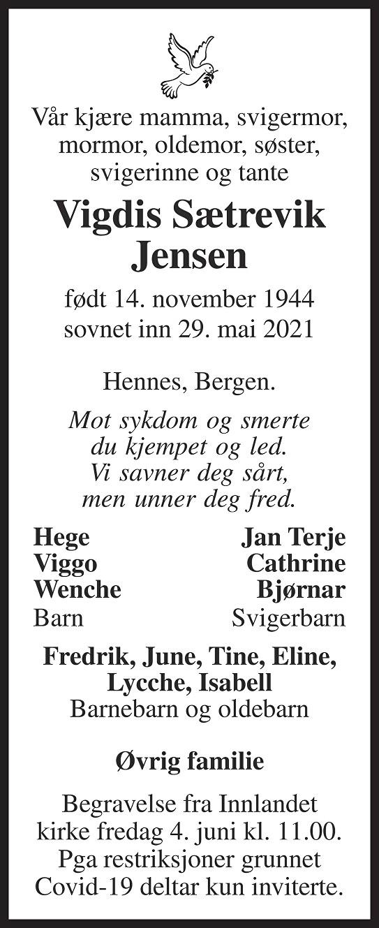 Vigdis Sætrevik Jensen Dødsannonse