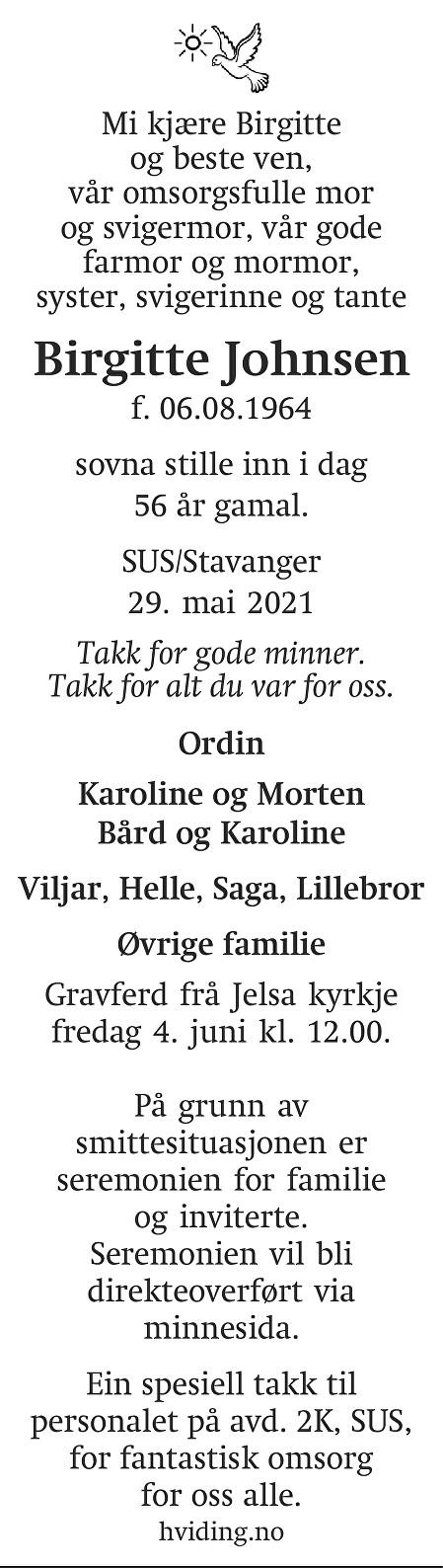 Birgitte Johnsen Dødsannonse