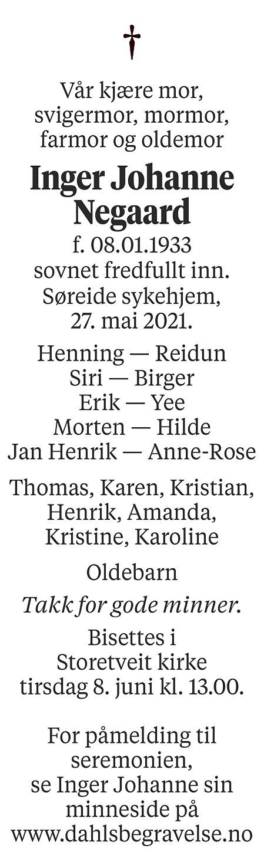 Inger Johanne Negaard Dødsannonse