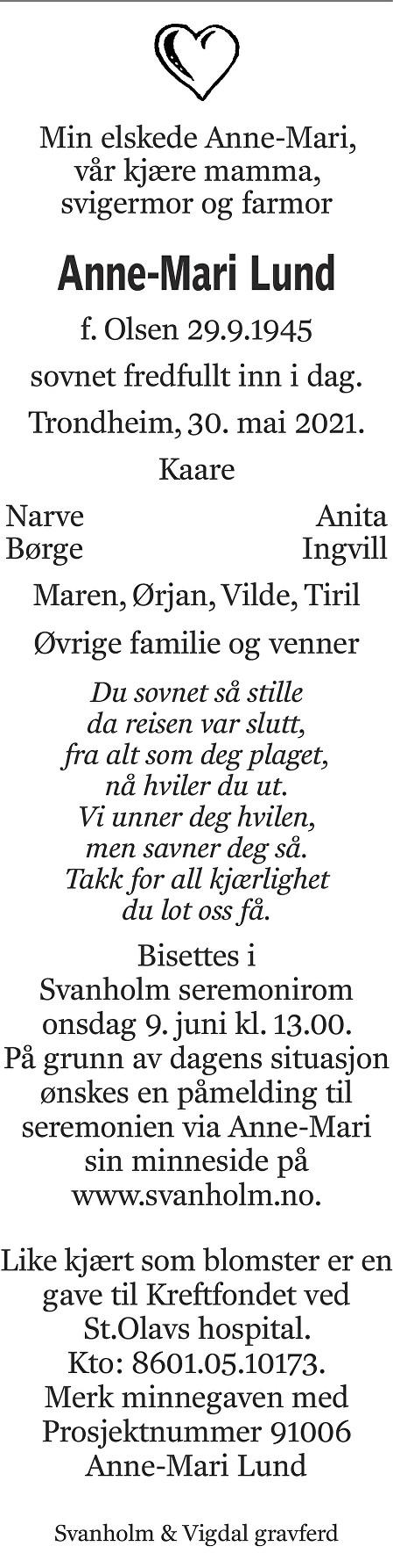 Anne-Mari Lund Dødsannonse
