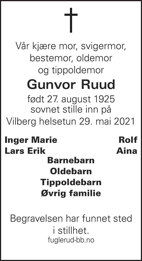 Gunvor Ruud Dødsannonse