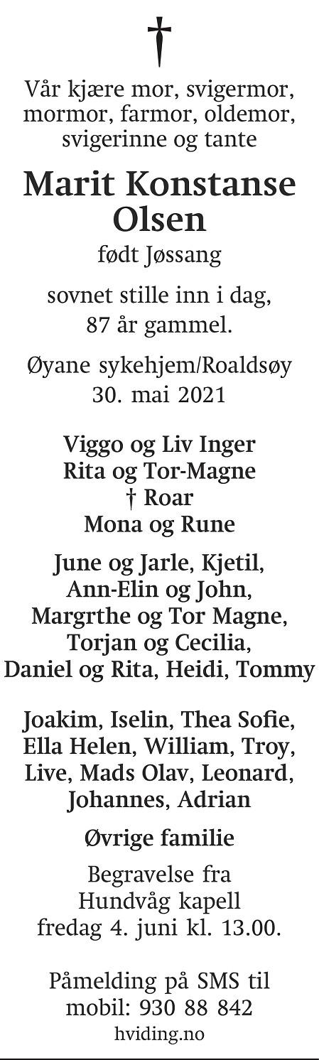Marit Konstanse Olsen Dødsannonse
