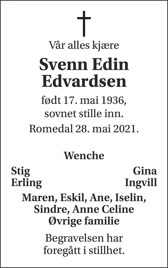 Svenn Edin Edvardsen Dødsannonse