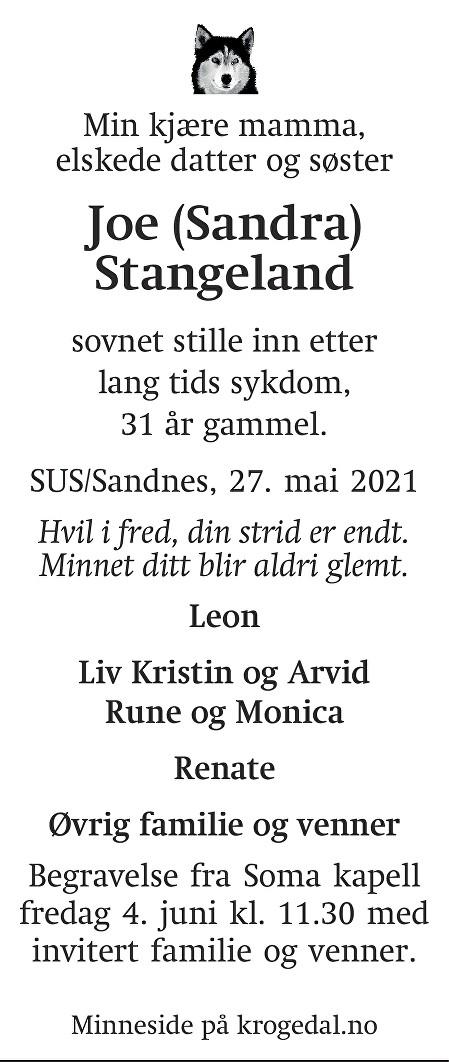 Joe (Sandra) Stangeland Dødsannonse
