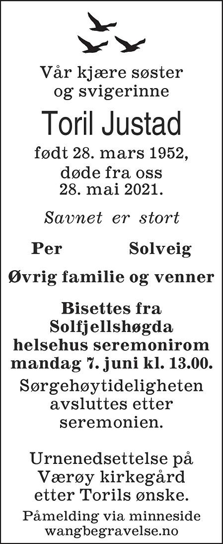 Toril Justad Dødsannonse
