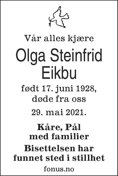Olga Steinfrid Eikbu Dødsannonse
