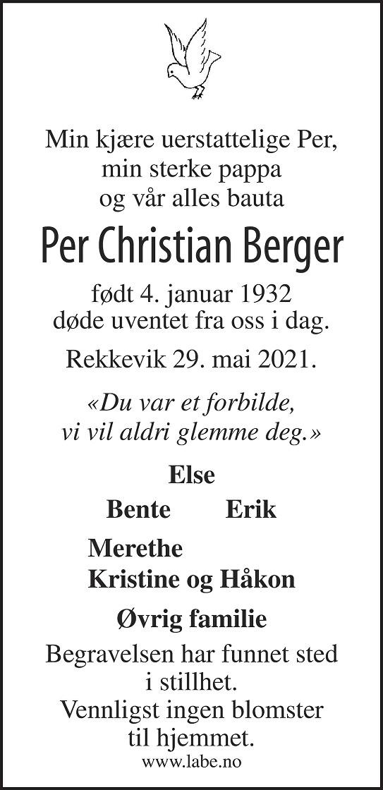 Per Christian Berger Dødsannonse