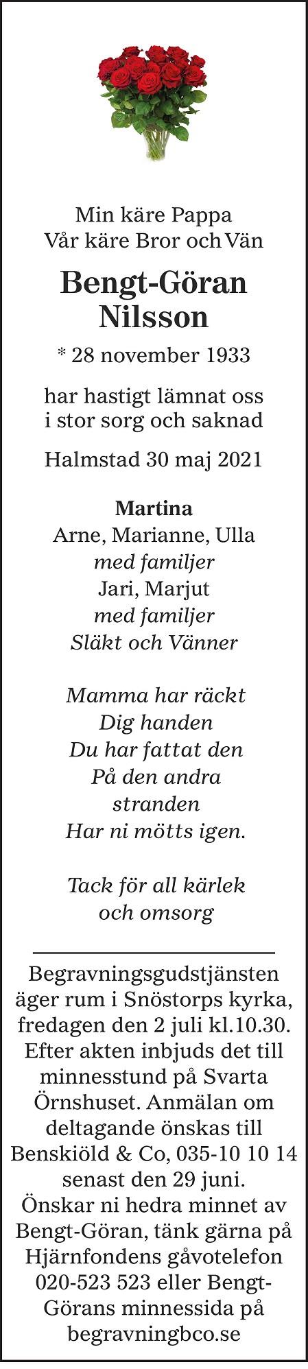 Bengt-Göran Nilsson Death notice