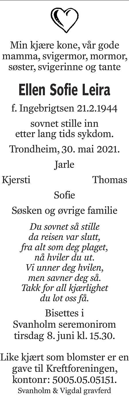 Ellen Sofie Leira Dødsannonse