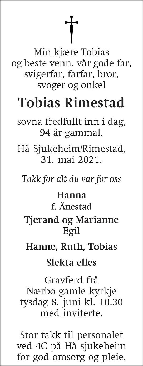 Tobias Rimestad Dødsannonse