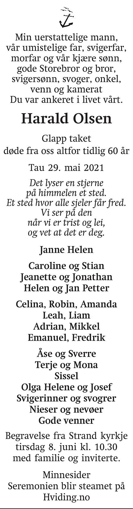 Harald Olsen Dødsannonse