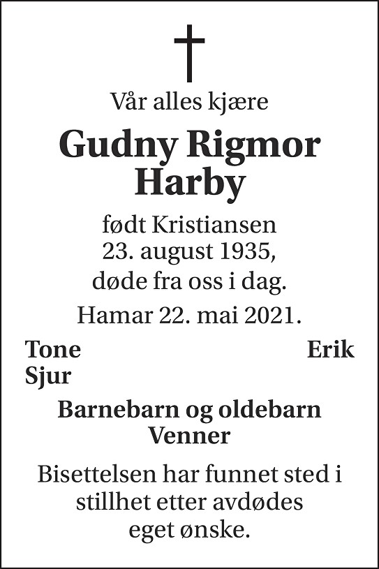 Gudny Rigmor Harby Dødsannonse