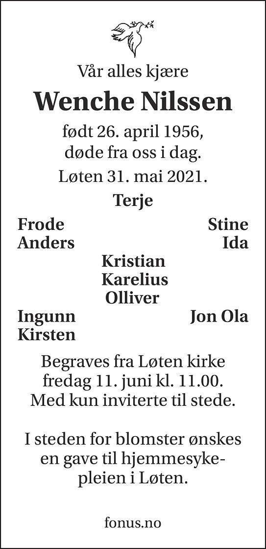 Wenche Nilssen Dødsannonse