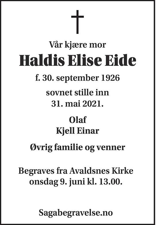 Haldis Elise Eide Dødsannonse