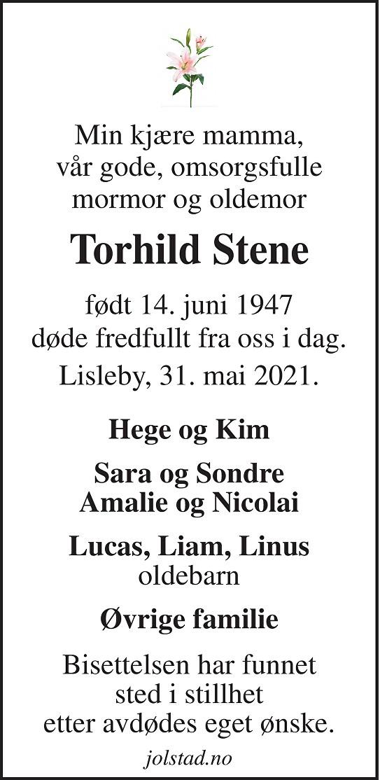 Torhild Sidsel Stene Dødsannonse